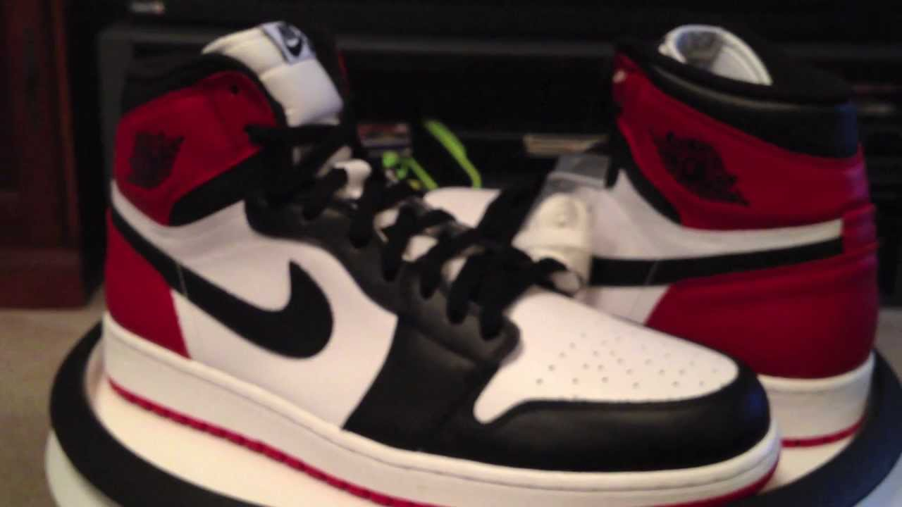 Nike Air Jordan 1 Retro High OG - White   Black   Gym Red colorway - Black  Toes (5-25-2013 release) - YouTube e592d4a4e2