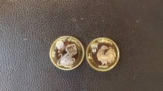 Монети 10 юаней Рік Півня 2017, Рік Мавпи 2016/Монеты 10 юаней Год Петуха 2017, Год Обезьяны 2016