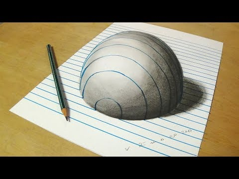 Trick Art on Line Paper  - Drawing Half Sphere Optical Illusion - Anamorphic Illusion with Pencils