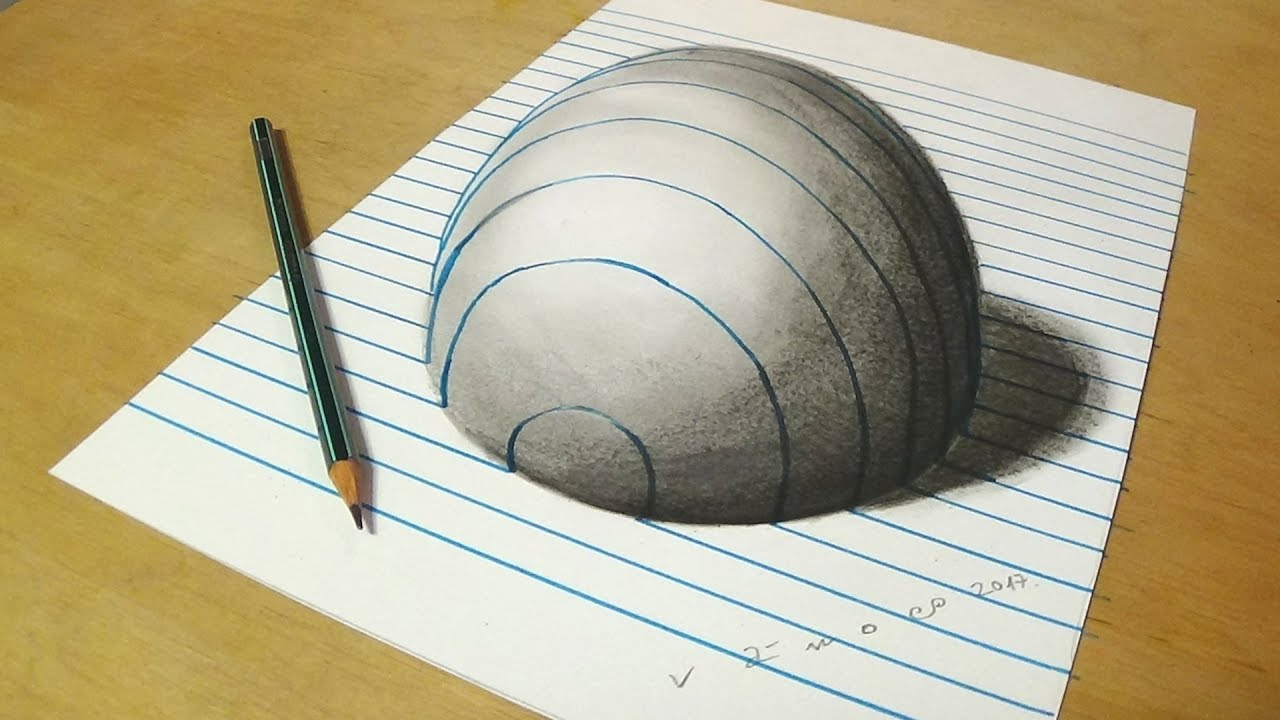 3d illusion optical illusions paper sphere drawing draw drawings half trick line lined easy pencil hole anamorphic step circular perspective