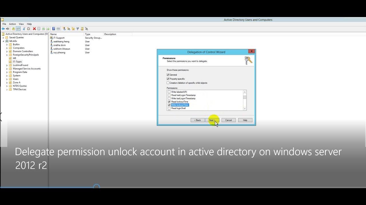 Delegate permission unlock account in active directory on windows server  2012 r2