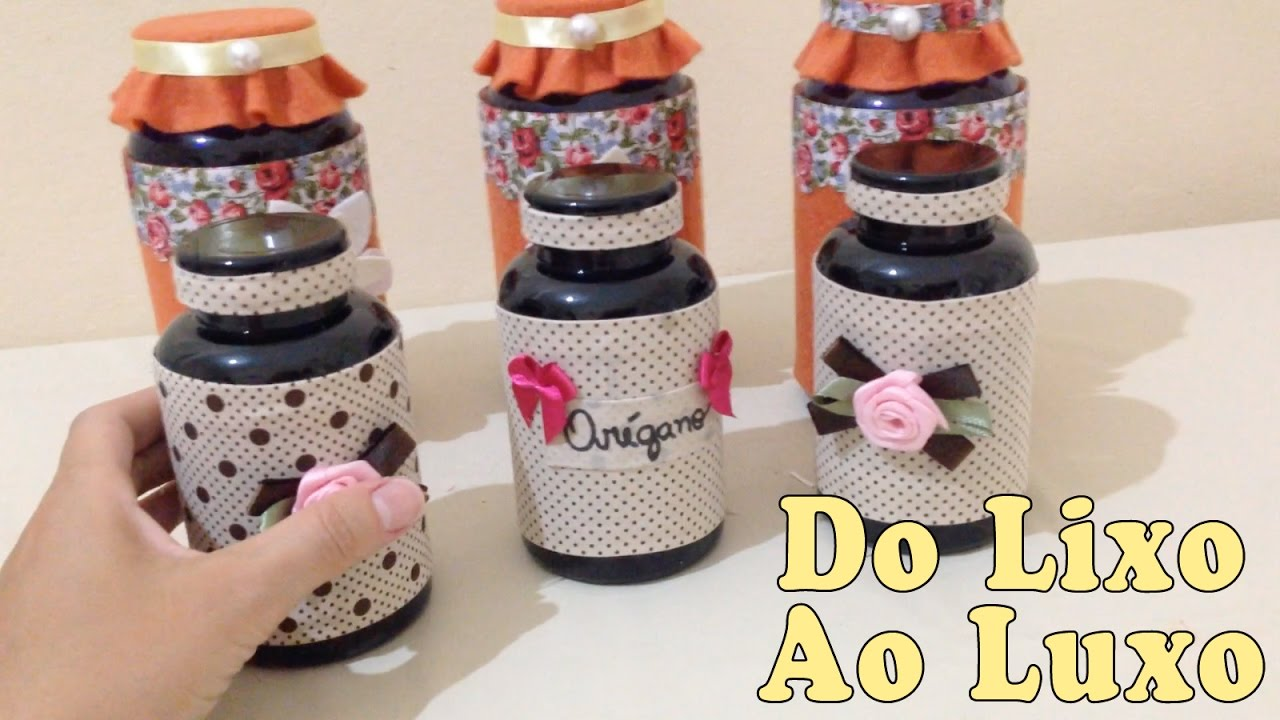 Artesanato Feito Com Juta Passo A Passo ~ Do Lixo Ao Luxo Potes De Suplemento DIY Artesanato Reciclagem YouTube