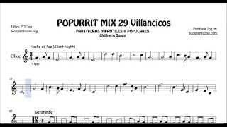 29 Popurrí Mix Villancicos Partituras de Oboe Noche de Paz Gatatumba Los Peces en el Río