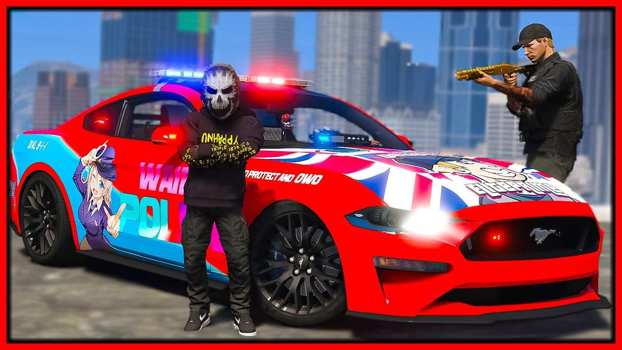 GTA 5 Roleplay - stealing cops special mustang   RedlineRP