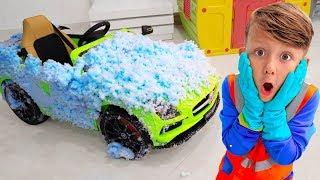 Senya يغسل السيارات القذرة! قصة للأطفال