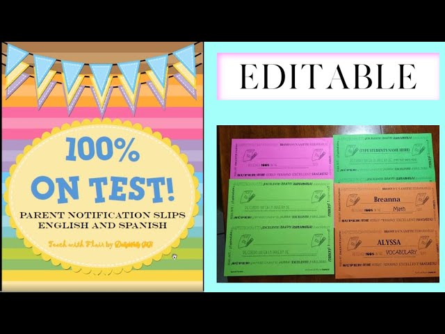 100% on Test! Editable Parent Notification Slips - English and Spanish Version