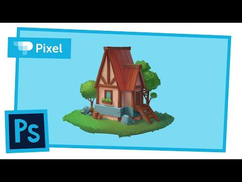 Рисуем домик в лесу в Adobe Photoshop | уроки для новичков