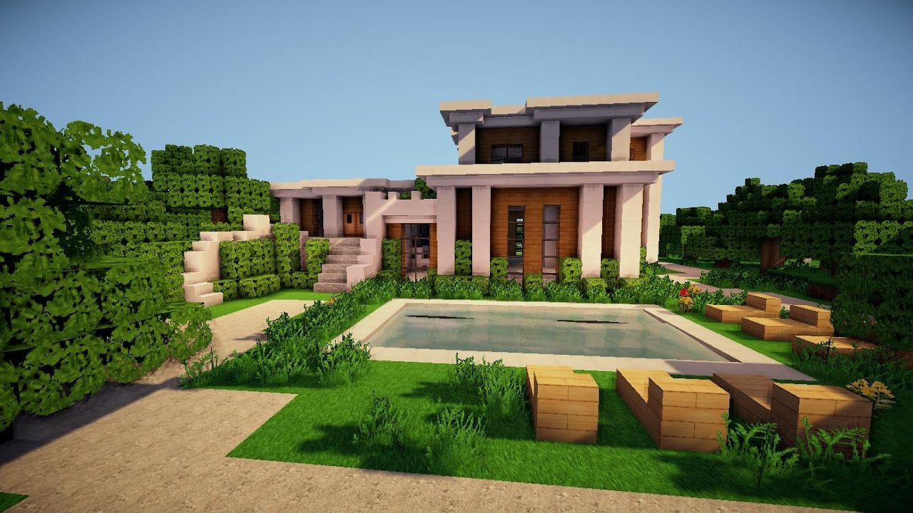 Building house minecraft how to build a large modern for Big modern house tutorial