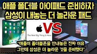 """애플이 폴더블 아이패드 만들려고 하자, 삼성이 내놓는 더 놀라운 패드, """"애플이 한번접힐때, 삼성은 두번접는다?"""""""