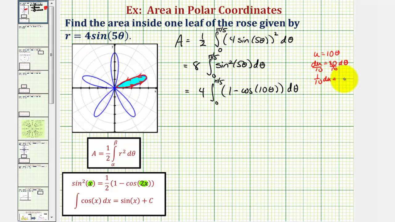 ex find the area of petal of a rose area bounded by polar curve youtube [ 1280 x 720 Pixel ]