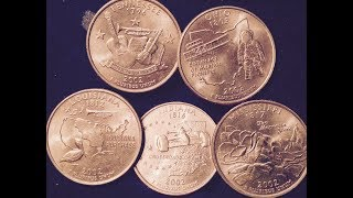 2002 State Quarters (Tennessee, Ohio, Louisiana, Indiana, Mississippi)