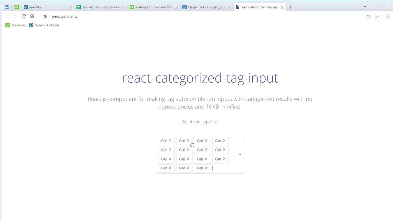React categorized tag input (private video) only via link