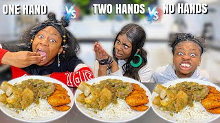 NO HANDS vs ONE HAND vs TWO HANDS EATING CHALLENGE | RICE AND AYAMASE STEW **EXTREME CHALLENGE**