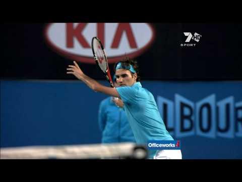 Roger Federer Slow motion Forehand from Australian Open semi final 2010