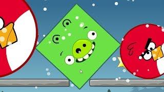 Angry Birds Kick Out Green Piggies - SQUARE PIGGIES TRANSFORM TO BIG TO KICK ROUND BIRDS!