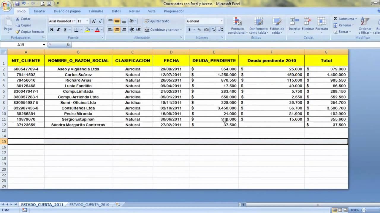 Cruzar datos con Excel y Access - YouTube