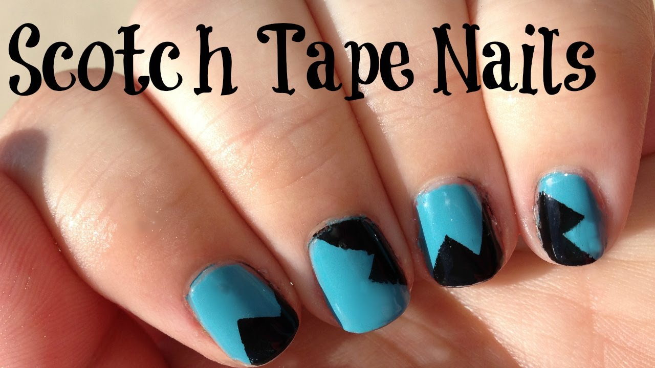 How To Paint Explosion Nail Art Using Scotch Tape - YouTube