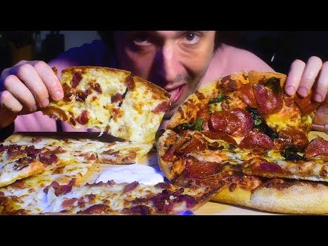 ASMR HUGE Pizza Feast!  자막 字幕  उपशीर्षक ( Real Sounds ) DOMINOS  | Nomnomsammieboy