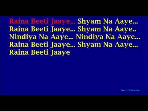 Raina Beeti Jaaye - Lata Mangeshkar Hindi Full Karaoke with Lyrics