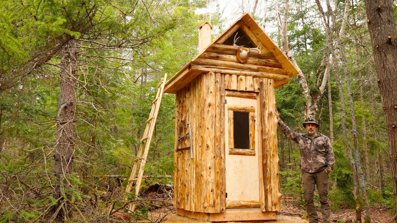 Building an Outhouse with Cedar Logs at My Off Grid Wilderness Homestead