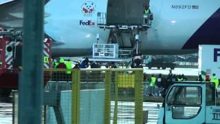 Pandas Arrive at Edinburgh Airport aboard The Panda Express FedEx Express B777
