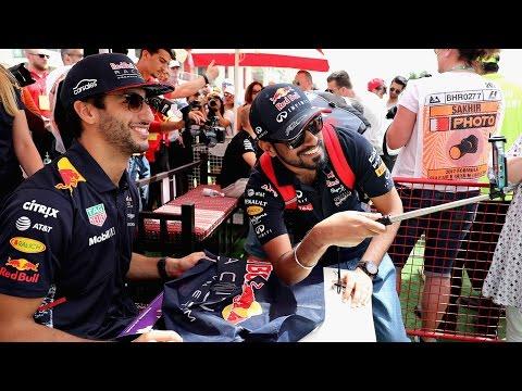 Daniel Ricciardo and Max Verstappen meet the fans in Bahrain