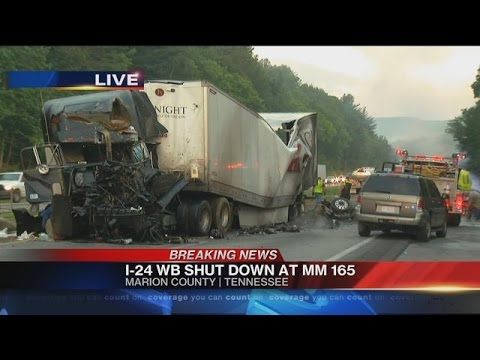 Tractor trailer crash claims 2 lives, shuts down I-24