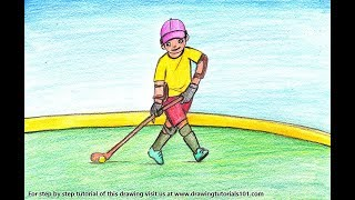 How to Draw a Hockey Player Scene - Step by Step