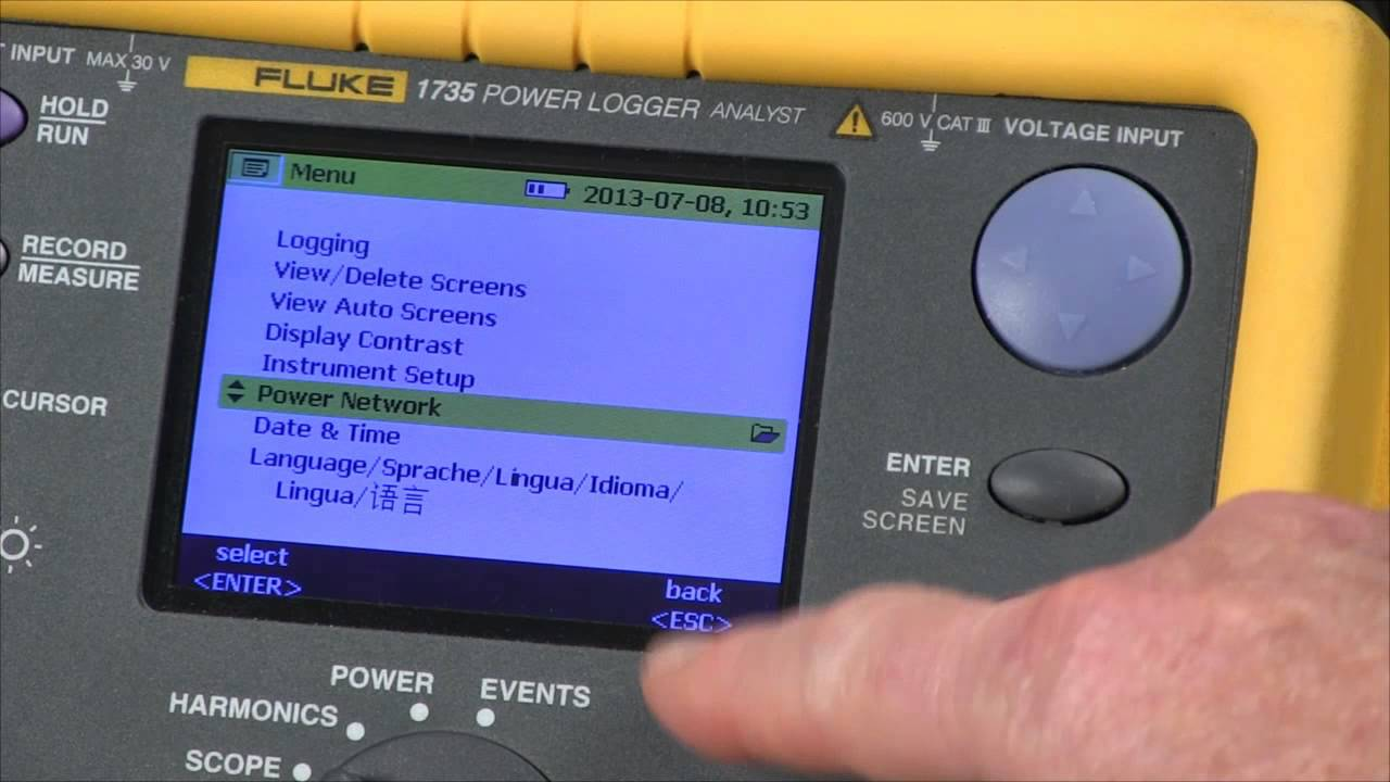 Fluke 1735 three-phase power quality logger from cole-parmer.
