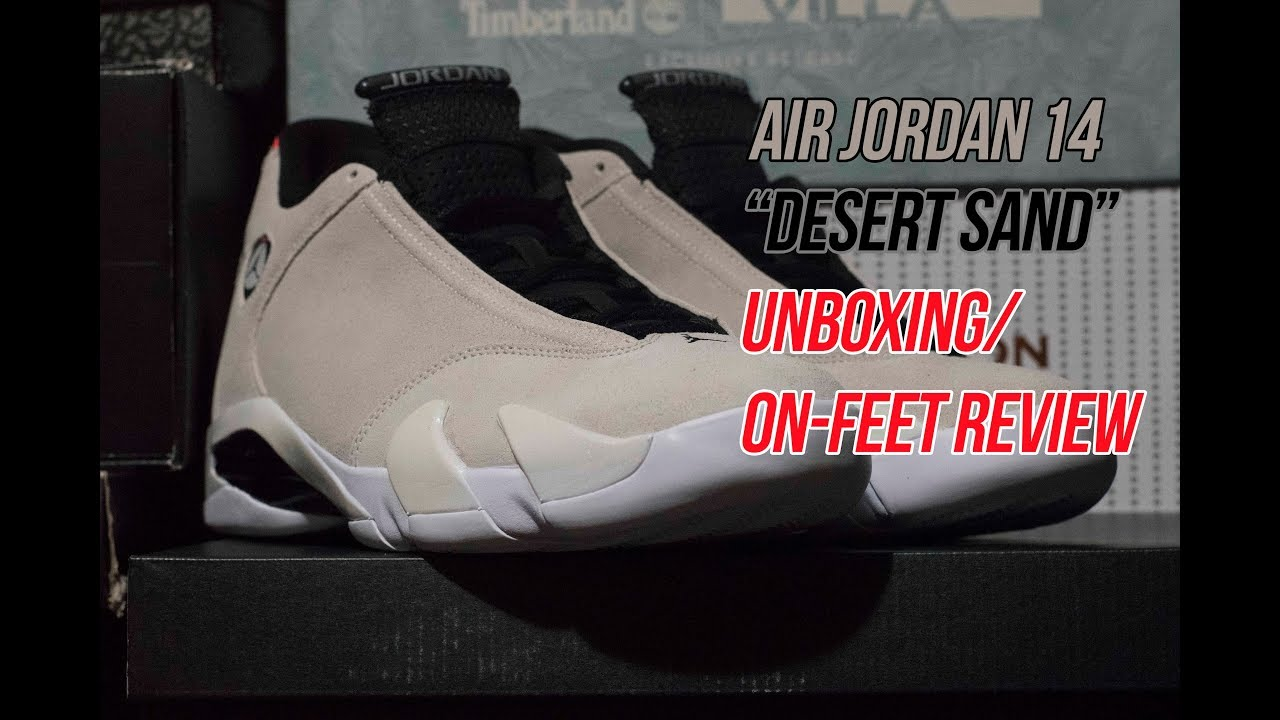 267014a20fe9 Jordan 14 Desert Sand  Unboxing On-Feet Review - YouTube