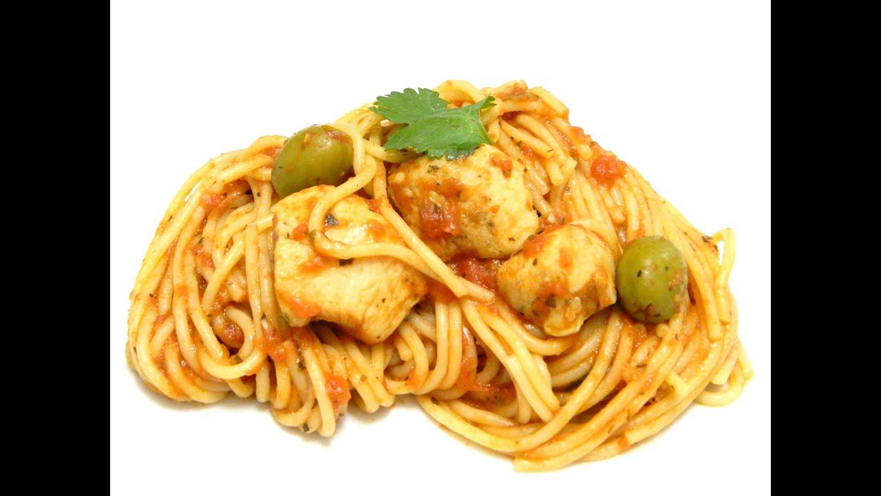 Spaghetti with chicken boricua style espaguetis con pollo - Como hacer espaguetis al pesto ...