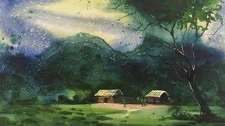 Watercolor painting for beginners using salt in watercolor painting | Watercolor painting tips.