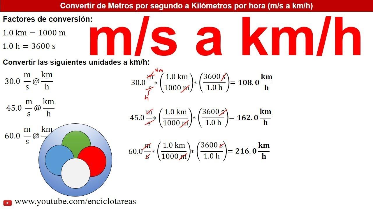Metros Por Segundo A Kilómetros Por Hora M S A Km H Ejercicios Resueltos Youtube