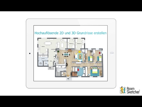 hochaufl sende 2d und 3d grundrisse erstellen tablet roomsketcher youtube. Black Bedroom Furniture Sets. Home Design Ideas