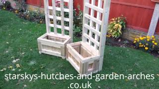 Wooden Planter Pair Of St Lucia With Chunky Trellis