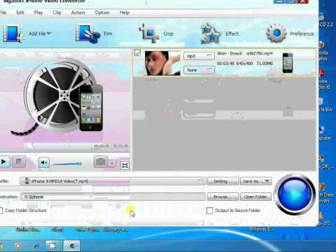 Converting Videos for Iphone in full screen using bigasoft iphone video converter.