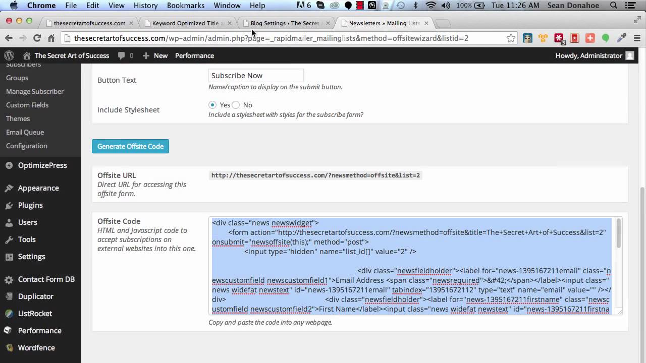 Rapid Mailer, Optin Form Integration - YouTube