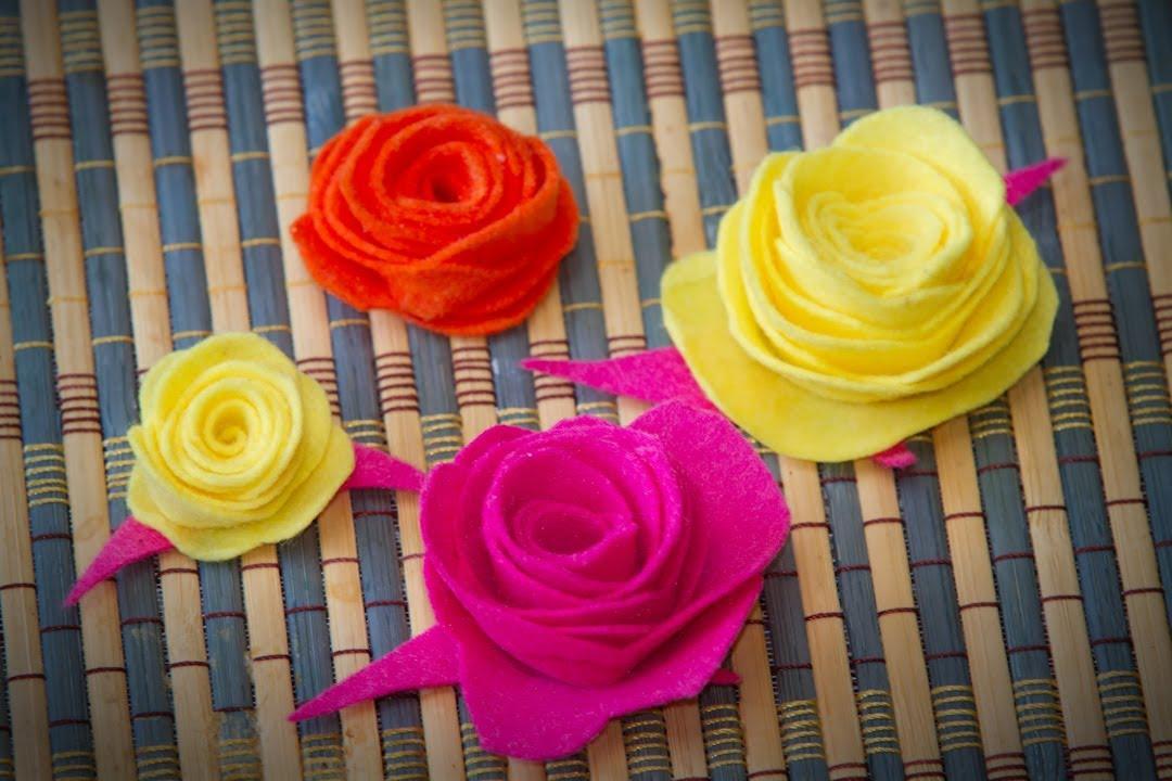 Flores de fieltro manualidad de tela facil youtube - Flores de telas hechas a mano ...