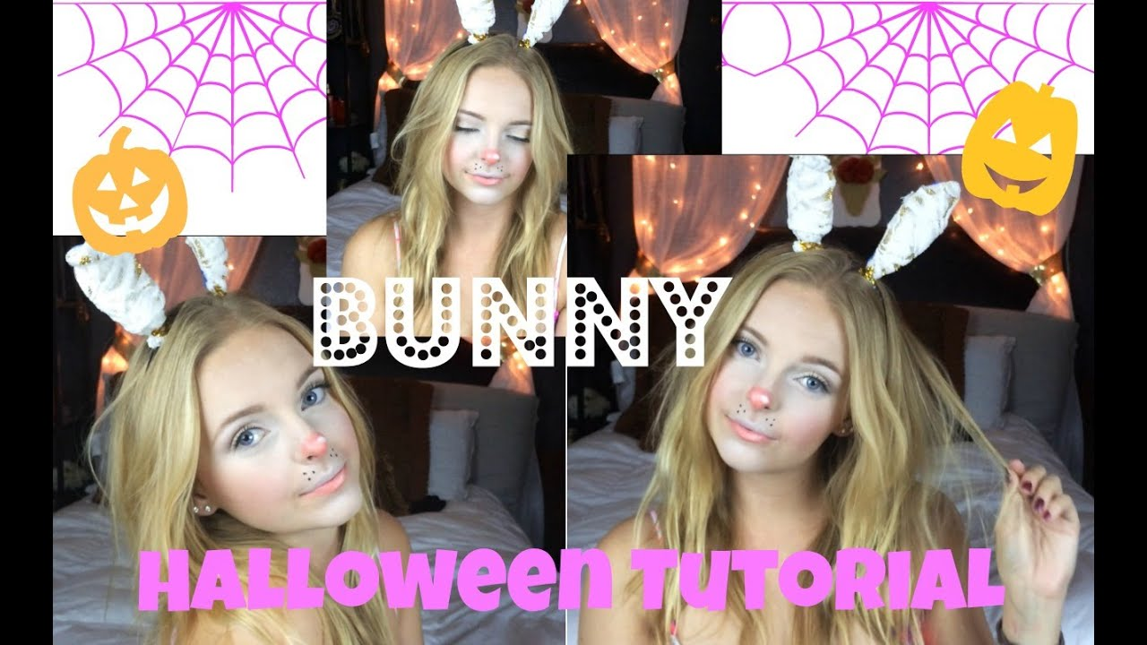EASY BUNNY HALLOWEEN MAKEUP!! lilmissmegsmakeup - YouTube