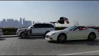 Oleg Cricket jump over car Ferrari in Dubai