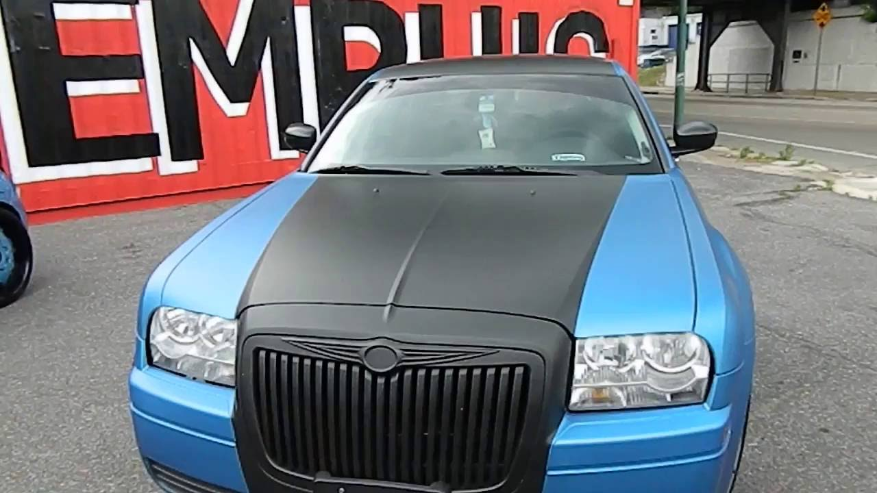 Wrapped Matte Blue And Black Chrysler 300 Done By Wrap