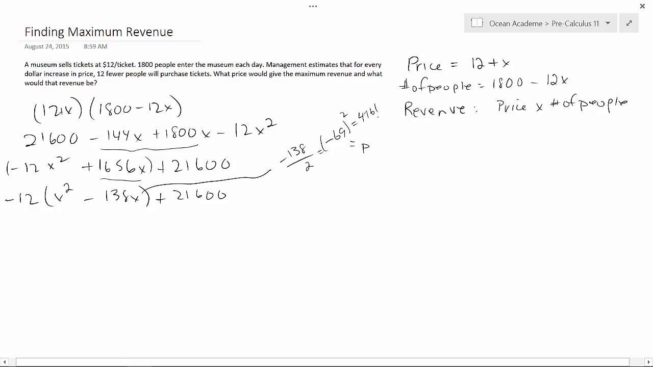 pre calculus 11 finding maximum revenue youtube