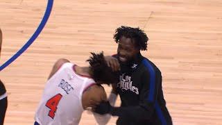 Derrick Rose ve Patrick Beverley oyun sonrası çok eğlendiler   Clippers Knicks'e karşı