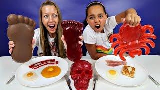 Famtastic Vlog 1: Real Food Vs Gummy Food! Best Chef Gross Giant Candy Challenge