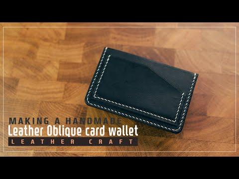 Leather Oblique card wallet / 사선 카드 지갑 / Leather craft PDF / 가죽공예 패턴 / ASMR