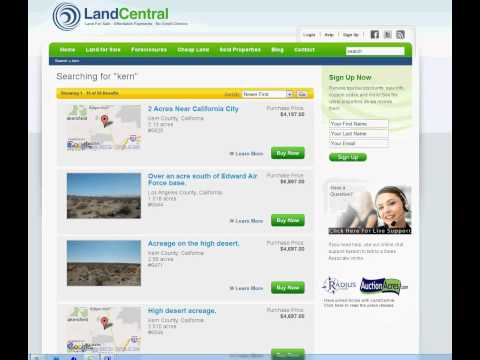 LandCentral Website Tutorial  – Searching For Land For Sale