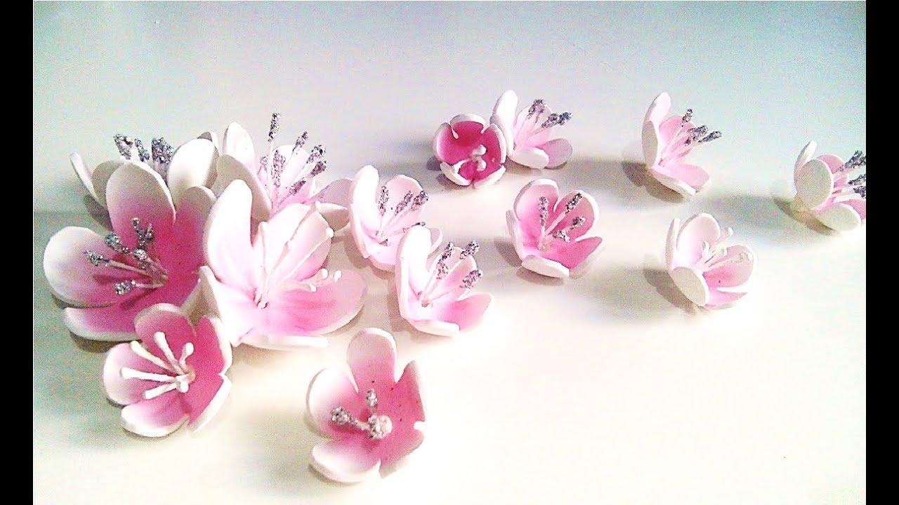 ✿ TUTORIAL FLOR DE ALMENDRO ✿,como hacer flores para scrapbooking y  manualidades. - YouTube