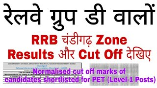 RRB चंडीगढ़ Zone Group D Results || RRB Chandigarh Gruop D Cut Off // Chandigarh cut Off Group D