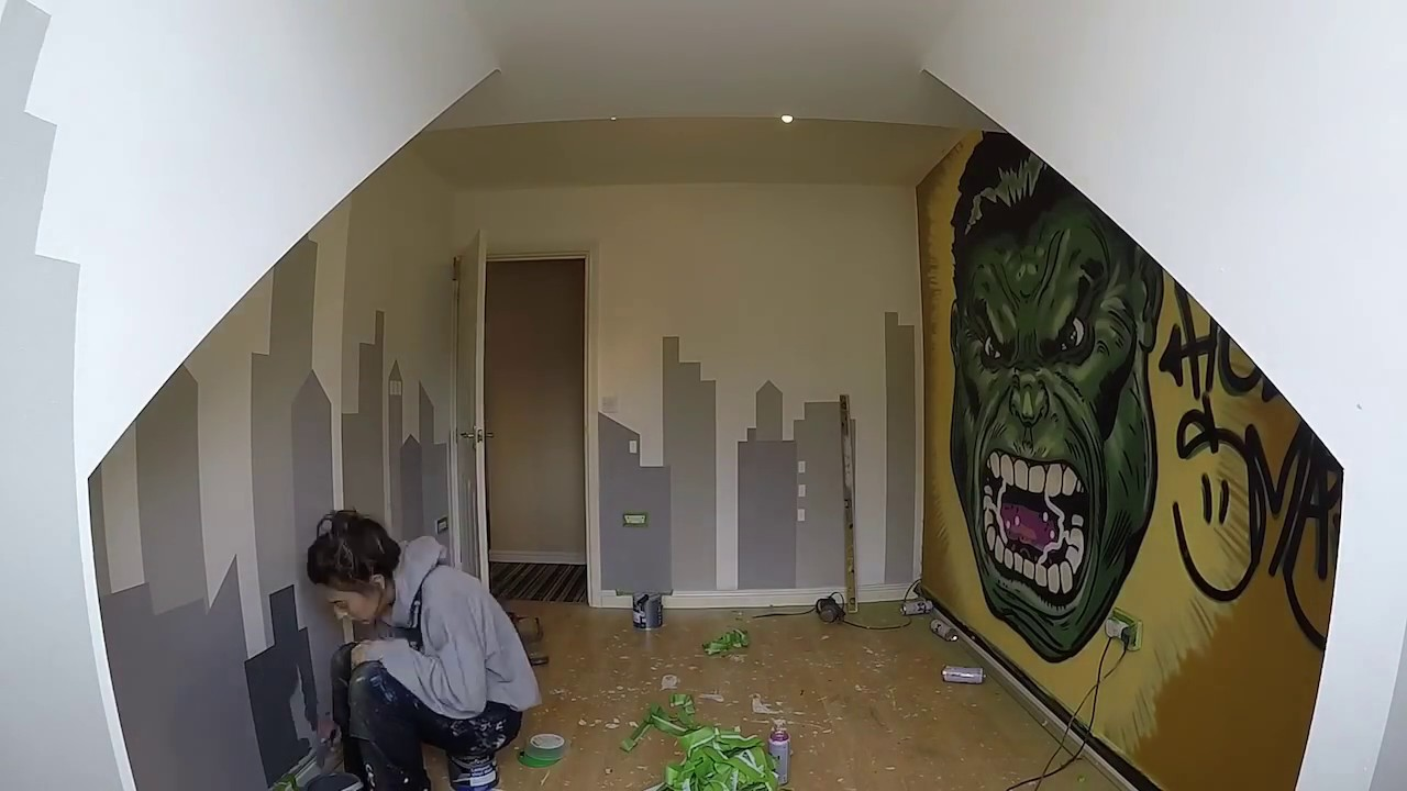 Hulk Smash Bedroom Mural   Marvel Themed Wall Art Timelapse