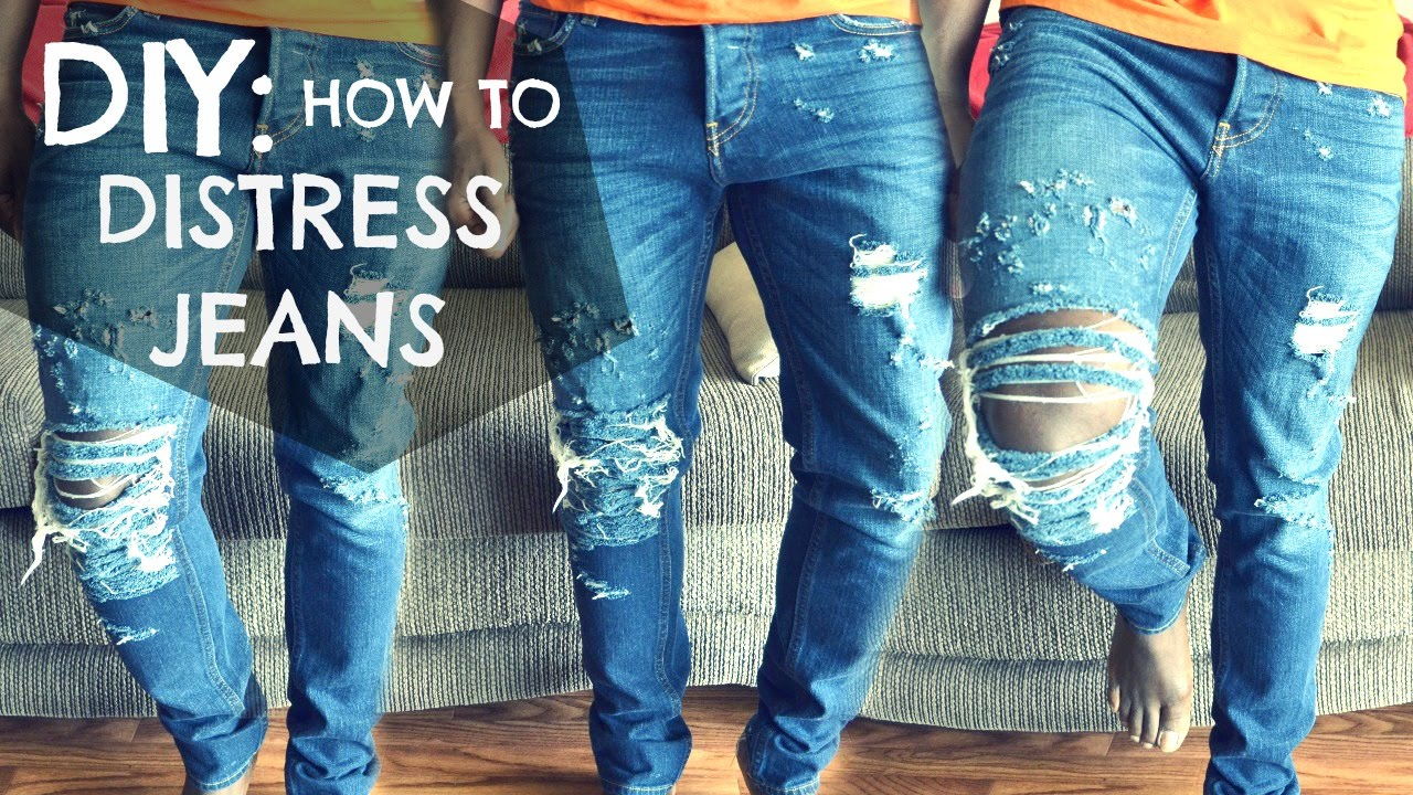 DIY How To: Distressed Jeans Tutorial - dyrandoms - YouTube